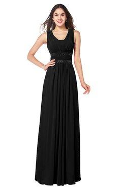 ColsBM Kelly Black Glamorous A-line Zip up Chiffon Sash Plus Size Bridesmaid Dresses