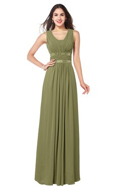 ColsBM Kelly Cedar Glamorous A-line Zip up Chiffon Sash Plus Size Bridesmaid Dresses