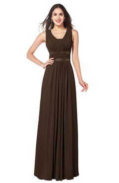 ColsBM Kelly Copper Glamorous A-line Zip up Chiffon Sash Plus Size Bridesmaid Dresses