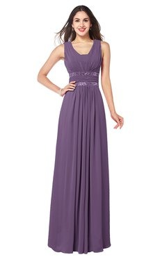ColsBM Kelly Eggplant Glamorous A-line Zip up Chiffon Sash Plus Size Bridesmaid Dresses