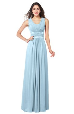 ColsBM Kelly Ice Blue Glamorous A-line Zip up Chiffon Sash Plus Size Bridesmaid Dresses