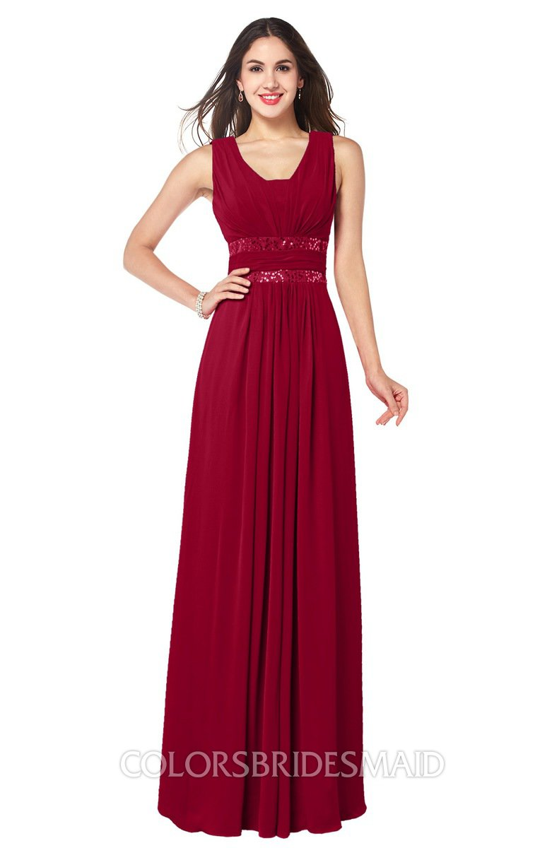c6ef23a947 ColsBM Kelly Maroon Glamorous A-line Zip up Chiffon Sash Plus Size Bridesmaid  Dresses
