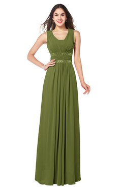 becbca08091 ColsBM Kelly Olive Green Glamorous A-line Zip up Chiffon Sash Plus Size Bridesmaid  Dresses