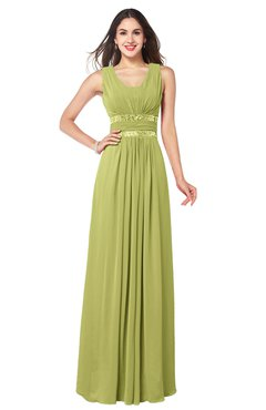 ColsBM Kelly Pistachio Glamorous A-line Zip up Chiffon Sash Plus Size Bridesmaid Dresses