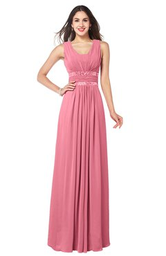 89c41f7b77 ColsBM Kelly Watermelon Glamorous A-line Zip up Chiffon Sash Plus Size Bridesmaid  Dresses
