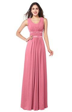 ColsBM Kelly Watermelon Glamorous A-line Zip up Chiffon Sash Plus Size Bridesmaid Dresses