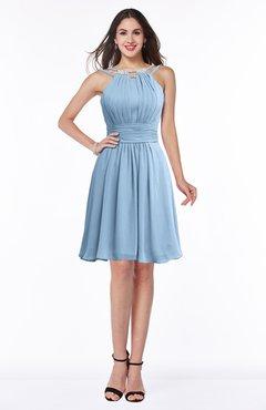 ColsBM Brynn Dusty Blue Simple A-line Jewel Half Backless Beaded Bridesmaid Dresses