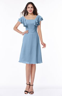 ColsBM Emely Dusty Blue Simple A-line Portrait Knee Length Ribbon Plus Size Bridesmaid Dresses