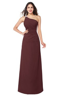 ColsBM Kamila Burgundy Traditional Asymmetric Neckline Sleeveless Half Backless Chiffon Floor Length Plus Size Bridesmaid Dresses