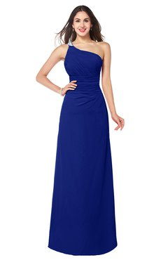 ColsBM Kamila Electric Blue Traditional Asymmetric Neckline Sleeveless Half Backless Chiffon Floor Length Plus Size Bridesmaid Dresses