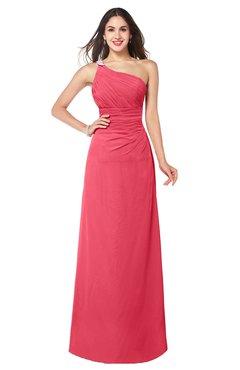 ColsBM Kamila Guava Traditional Asymmetric Neckline Sleeveless Half Backless Chiffon Floor Length Plus Size Bridesmaid Dresses