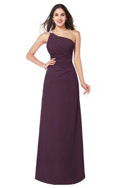 ColsBM Kamila Plum Traditional Asymmetric Neckline Sleeveless Half Backless Chiffon Floor Length Plus Size Bridesmaid Dresses