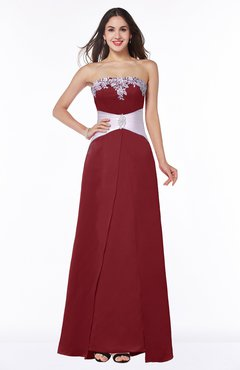 ColsBM Amalia Maroon Modern A-line Strapless Zipper Floor Length Sash Plus Size Bridesmaid Dresses