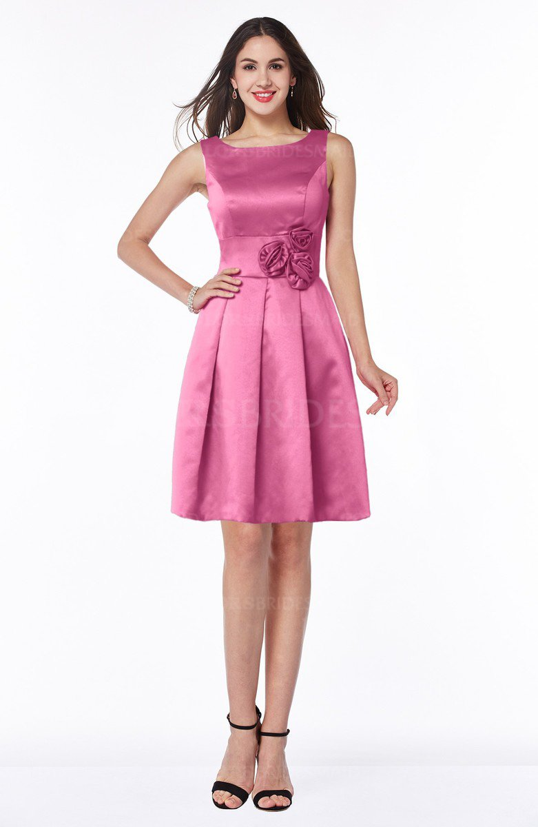 Rose Pink Plain Sleeveless Zip up Satin Flower Bridesmaid ...