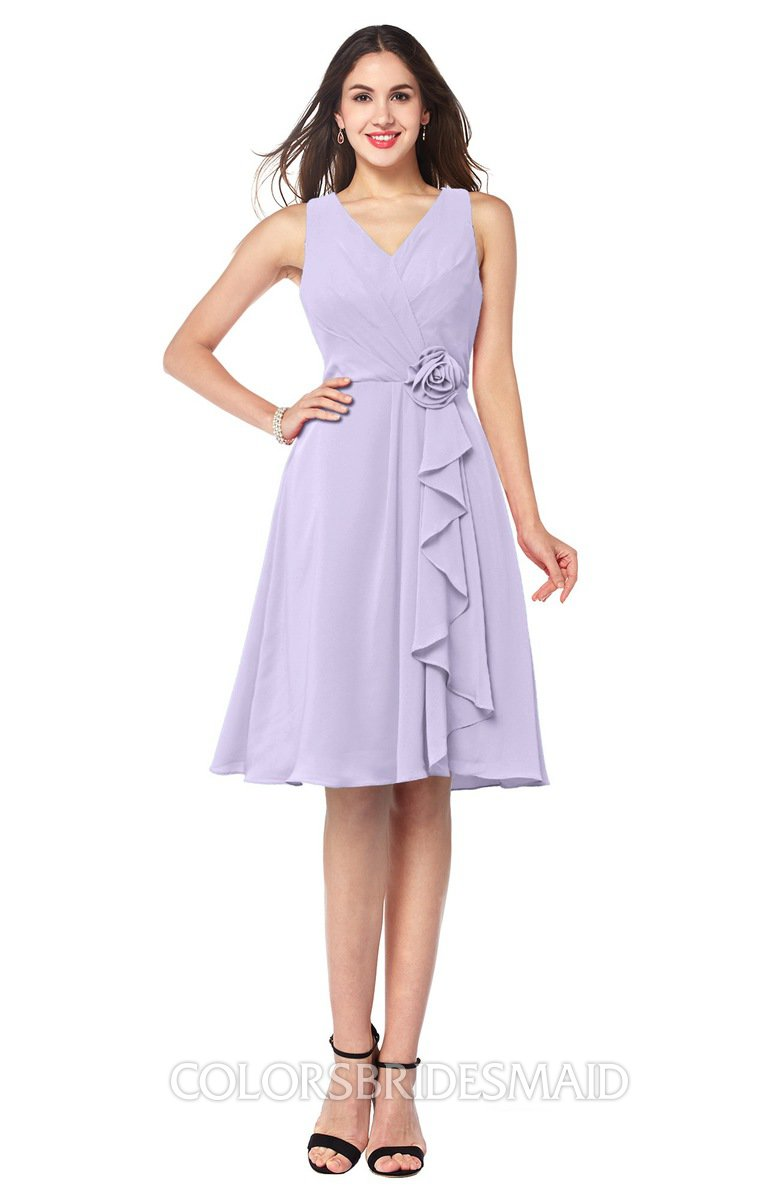 Colsbm Melissa Light Purple Y V Neck Sleeveless Chiffon Knee Length Plus Size Bridesmaid Dresses