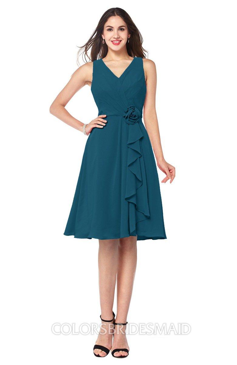 Moroccan blue sexy v neck sleeveless chiffon knee length for Sexy plus size wedding dresses