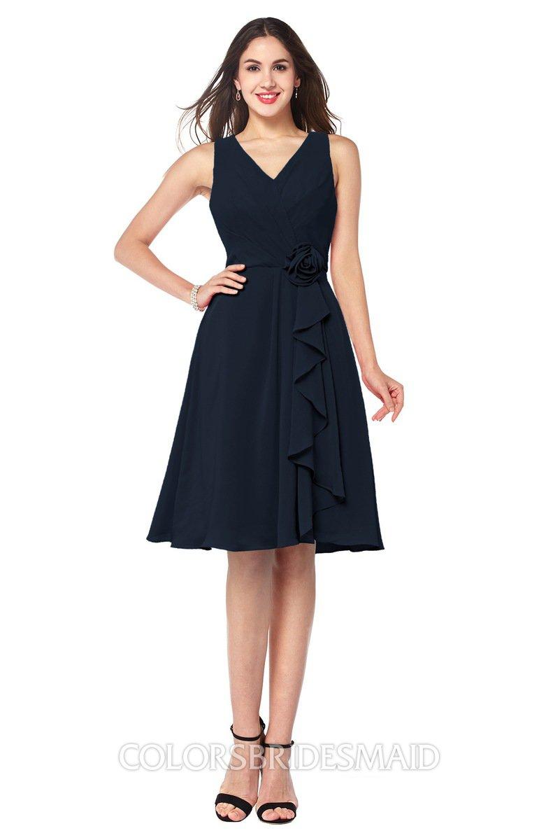Navy blue sexy v neck sleeveless chiffon knee length plus for Navy plus size dress for wedding