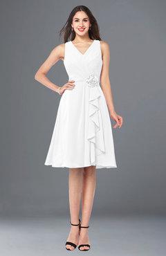b6af9e6fc14 ColsBM Melissa White Sexy V-neck Sleeveless Chiffon Knee Length Plus Size  Bridesmaid Dresses