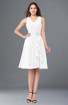 ColsBM Melissa White Sexy V-neck Sleeveless Chiffon Knee Length Plus Size Bridesmaid Dresses
