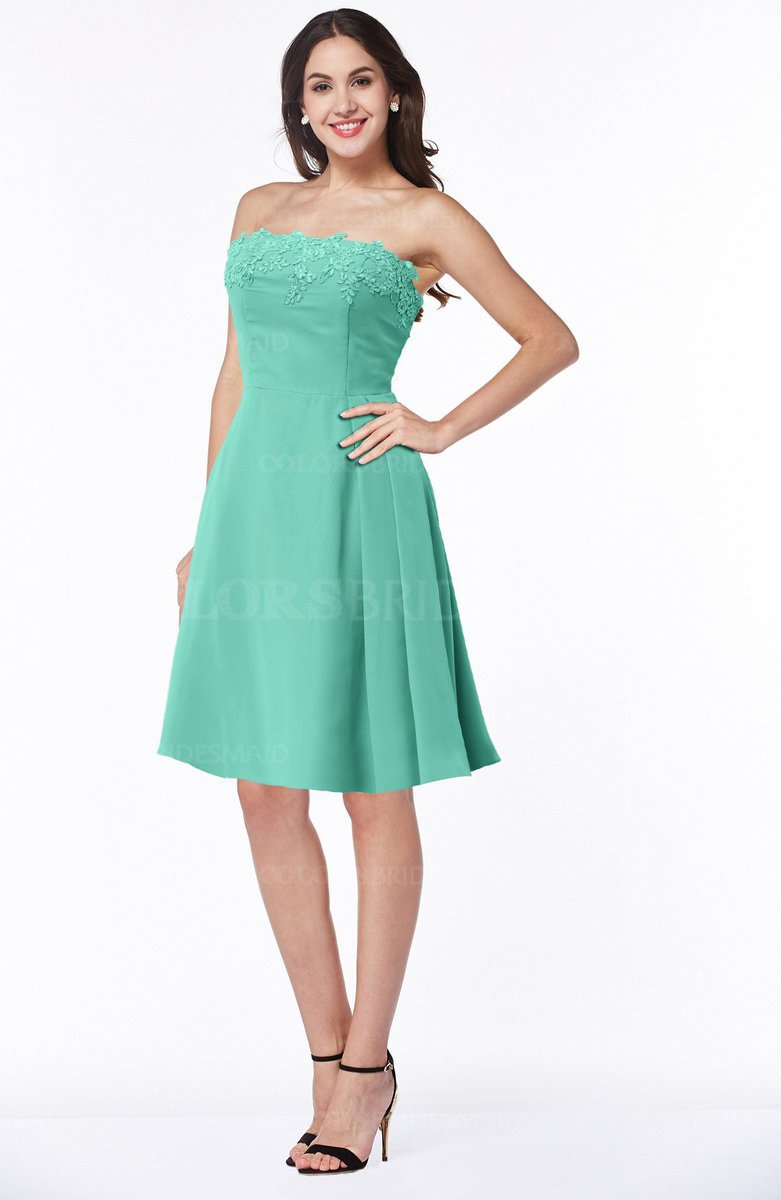 f949a53da7ee9 ColsBM Kayleigh Mint Green Modern A-line Strapless Sleeveless Appliques  Plus Size Bridesmaid Dresses