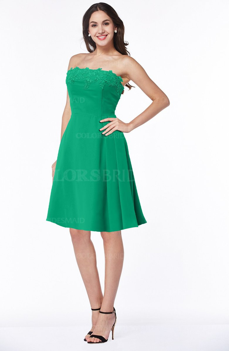 63633cc8bd581 ColsBM Kayleigh Sea Green Modern A-line Strapless Sleeveless Appliques Plus  Size Bridesmaid Dresses