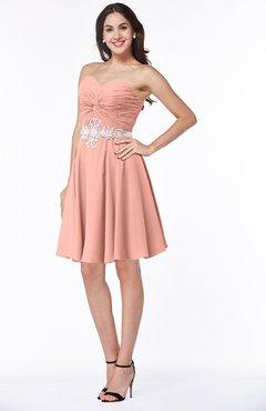 39038945fabc ColsBM Addisyn Peach Simple Sweetheart Chiffon Knee Length Appliques Plus  Size Bridesmaid Dresses