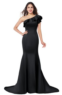 ColsBM Abigail Black Elegant Fishtail Sleeveless Zip up Satin Ruffles Bridesmaid Dresses