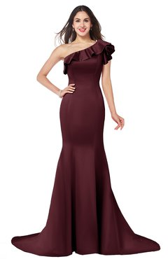 ColsBM Abigail Burgundy Elegant Fishtail Sleeveless Zip up Satin Ruffles Bridesmaid Dresses