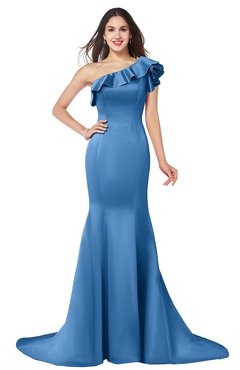 ColsBM Abigail Campanula Elegant Fishtail Sleeveless Zip up Satin Ruffles Bridesmaid Dresses