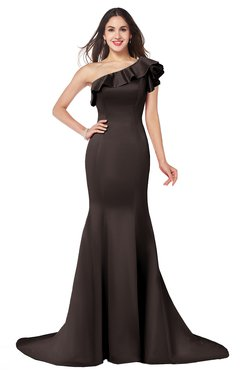 ColsBM Abigail Espresso Elegant Fishtail Sleeveless Zip up Satin Ruffles Bridesmaid Dresses