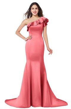 1d9841c46834 ColsBM Abigail Hot Coral Elegant Fishtail Sleeveless Zip up Satin Ruffles Bridesmaid  Dresses