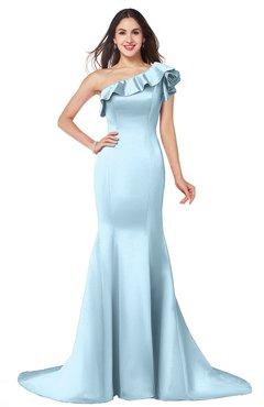 ColsBM Abigail Ice Blue Elegant Fishtail Sleeveless Zip up Satin Ruffles Bridesmaid Dresses