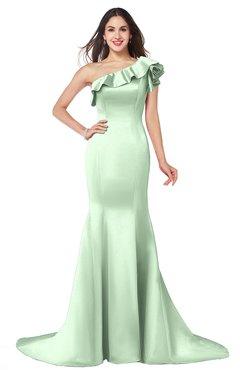 ColsBM Abigail Light Green Elegant Fishtail Sleeveless Zip up Satin Ruffles Bridesmaid Dresses
