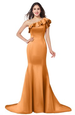 ColsBM Abigail Mango Elegant Fishtail Sleeveless Zip up Satin Ruffles Bridesmaid Dresses