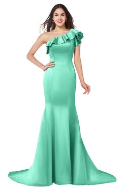 ColsBM Abigail Mint Green Elegant Fishtail Sleeveless Zip up Satin Ruffles Bridesmaid Dresses