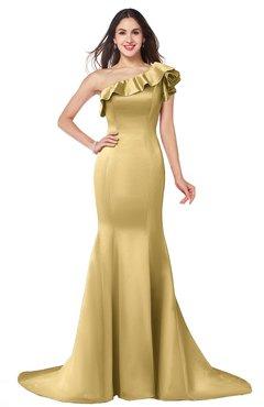 ColsBM Abigail Ochre Elegant Fishtail Sleeveless Zip up Satin Ruffles Bridesmaid Dresses