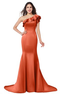 ColsBM Abigail Persimmon Elegant Fishtail Sleeveless Zip up Satin Ruffles Bridesmaid Dresses