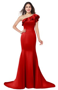 ColsBM Abigail Red Elegant Fishtail Sleeveless Zip up Satin Ruffles Bridesmaid Dresses