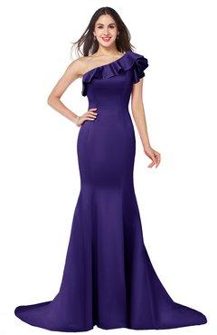 ColsBM Abigail Royal Purple Elegant Fishtail Sleeveless Zip up Satin Ruffles Bridesmaid Dresses