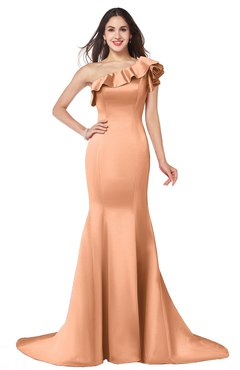 ColsBM Abigail Salmon Elegant Fishtail Sleeveless Zip up Satin Ruffles Bridesmaid Dresses