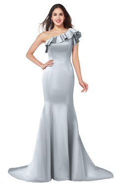 ColsBM Abigail Silver Elegant Fishtail Sleeveless Zip up Satin Ruffles Bridesmaid Dresses