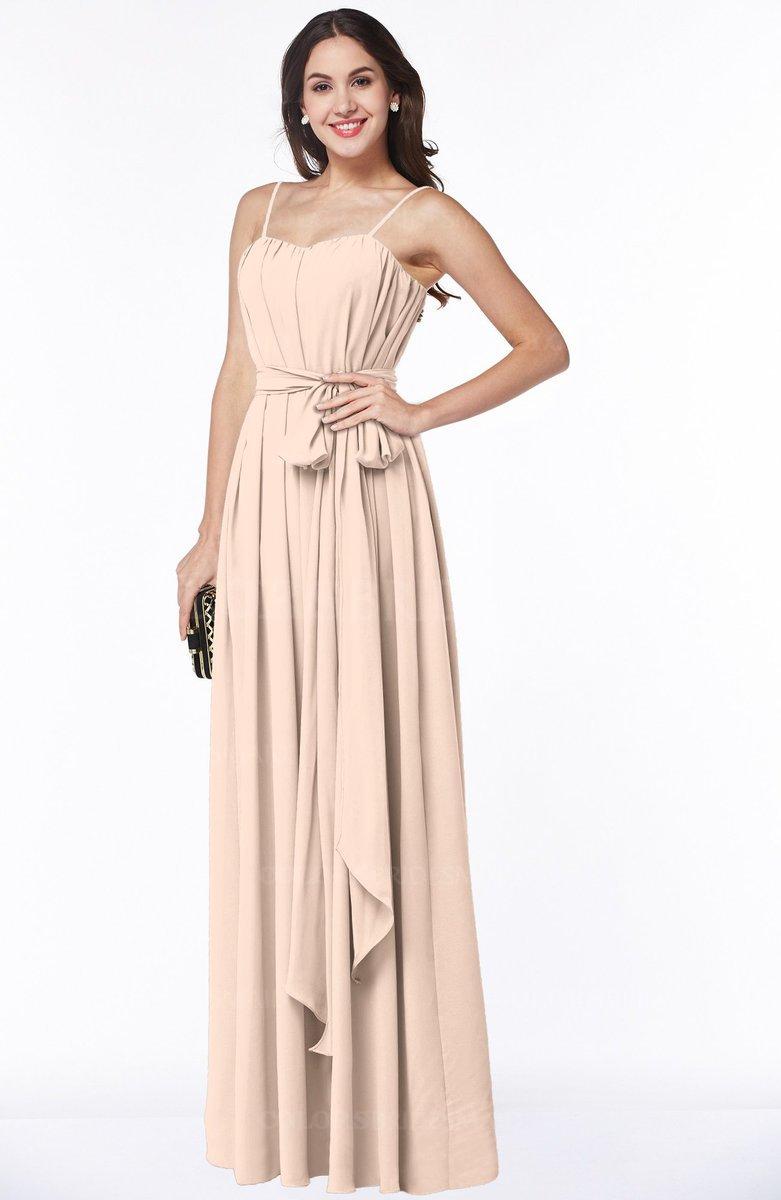 418b354ecd1d ColsBM Dahlia. Peach Puree Sexy A-line Zip up Chiffon Floor Length Sash Plus  Size Bridesmaid Dresses