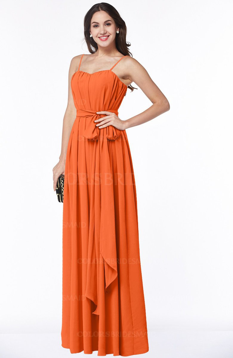 Colsbm Dahlia Tangerine Y A Line Zip Up Chiffon Floor Length Sash Plus Size Bridesmaid