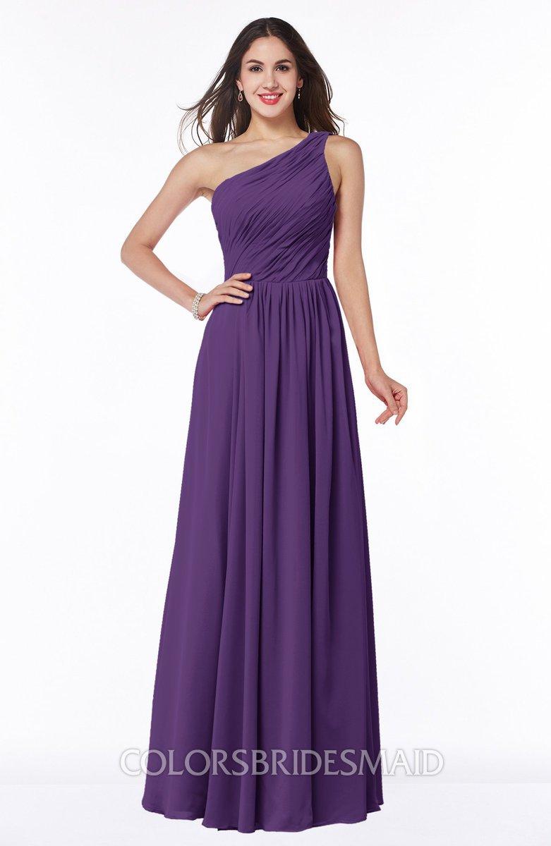 4384eb6145ec ColsBM Nancy Dark Purple Sexy A-line Sleeveless Zip up Chiffon Ruching Plus  Size Bridesmaid
