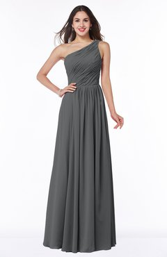 ColsBM Nancy Grey Sexy A-line Sleeveless Zip up Chiffon Ruching Plus Size Bridesmaid Dresses