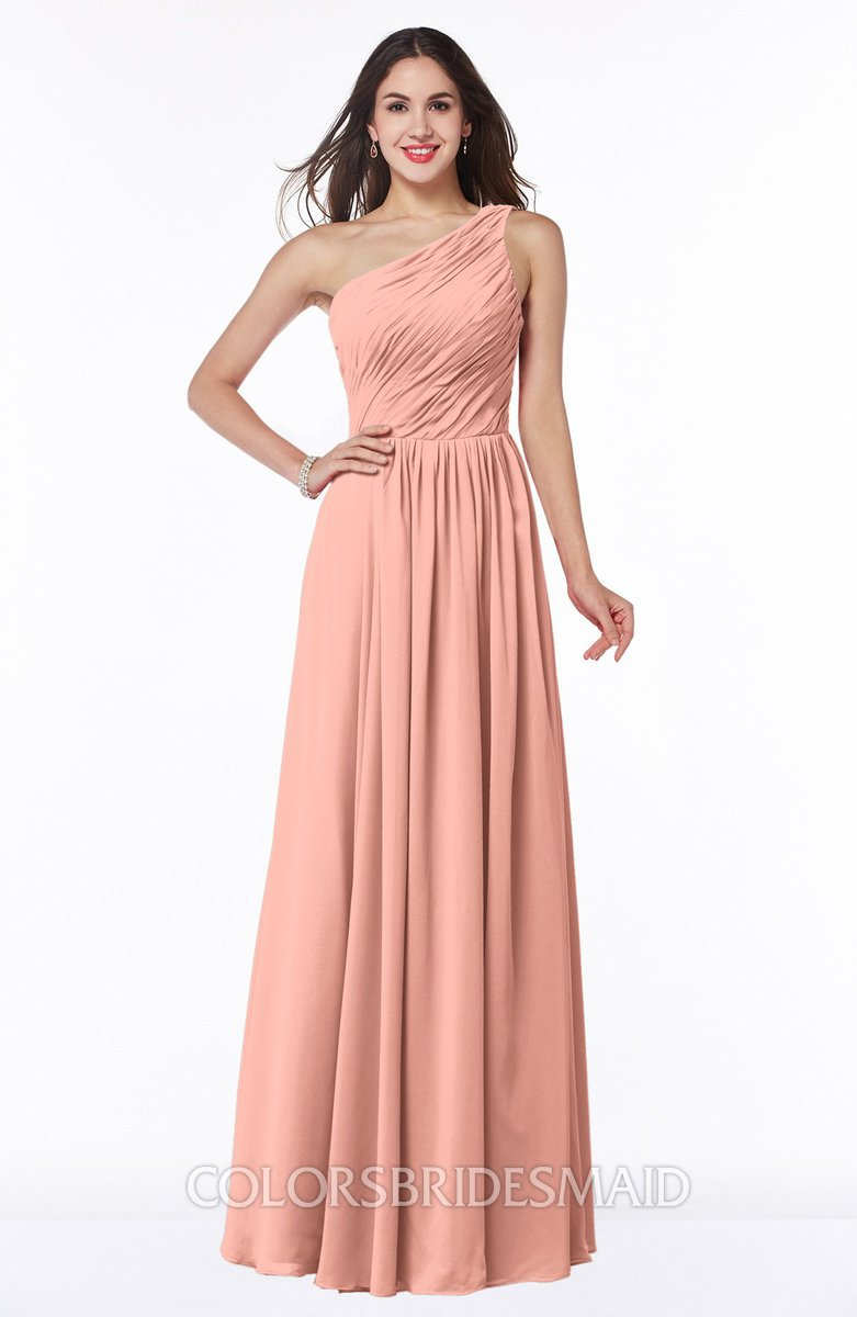 993b33057a1f ColsBM Nancy Peach Sexy A-line Sleeveless Zip up Chiffon Ruching Plus Size  Bridesmaid Dresses