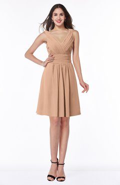 ColsBM Celia Almost Apricot Plain Sleeveless Half Backless Chiffon Knee Length Ruching Plus Size Bridesmaid Dresses
