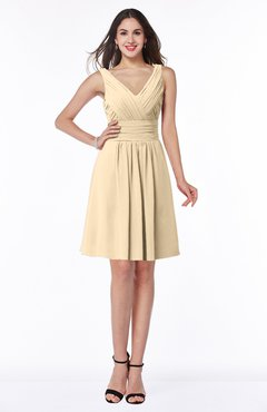 ColsBM Celia Apricot Gelato Plain Sleeveless Half Backless Chiffon Knee Length Ruching Plus Size Bridesmaid Dresses