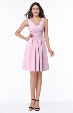 ColsBM Celia Baby Pink Plain Sleeveless Half Backless Chiffon Knee Length Ruching Plus Size Bridesmaid Dresses