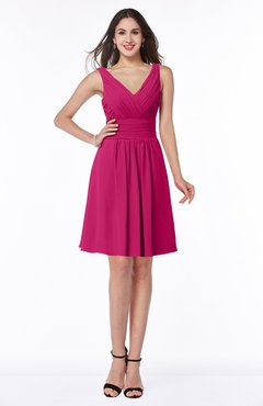 ColsBM Celia Beetroot Purple Plain Sleeveless Half Backless Chiffon Knee Length Ruching Plus Size Bridesmaid Dresses